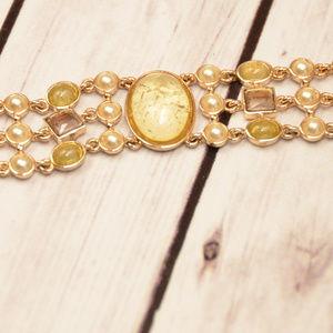 vintage ornate cab pearl bracelet